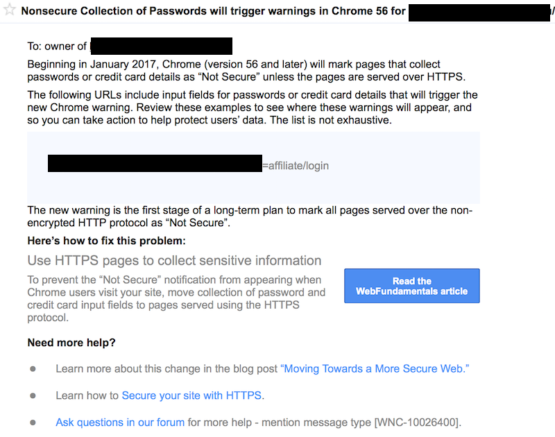 HTTPS not secure warning